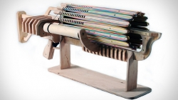 Eco friendly machine gun made up of wood and rubber
