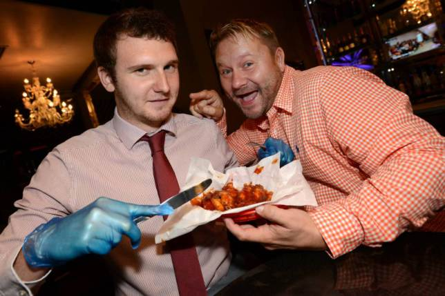 Pub offers chicken wings which are so spicy that you need to wear gloves before eating