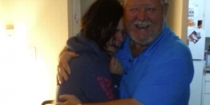 Dad surprises his daughter at her home after travelling more than 3000 miles