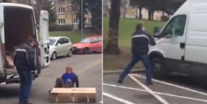 Footage of parcel delivery customer smashing the van goes viral