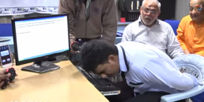 Man set a world record of fast typing with nose