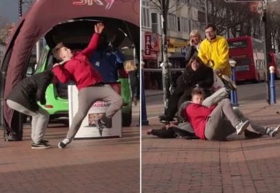 Pranksters performed live WWE stunt on street