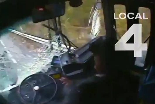 Bus driver fallen asleep on wheels and smashed several cars