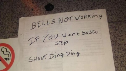 Hilarious message left by the bus driver to the passengers after the bell stopped working