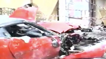 Driver ended up in hospital after smashing the Ferrari into a shop