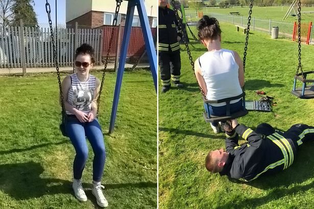 Teenage girl who left stuck in child's swing, finally got rescued