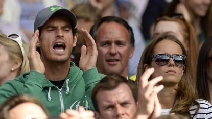 David Beckham catches ball at Wimbledon 2015