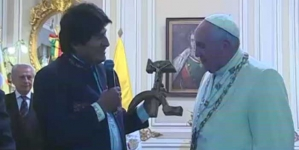 Pope offers up 2 medals to Madonna in Bolivia