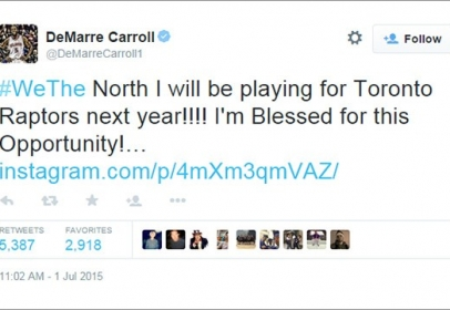 DeMarre Carroll says he's heading to the Raptors