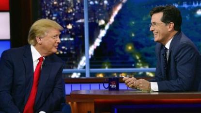 Trump dodges Colbert's birther question, talks border wall