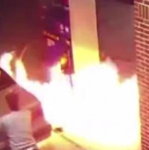 Motorist sets lighter to spider at gas station, burns pump