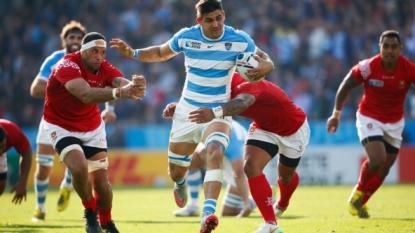 Maradona celebrates at Rugby World Cup